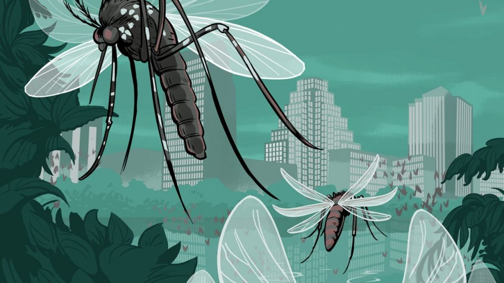 an illustration of mosquitoes flying around downtown Austin