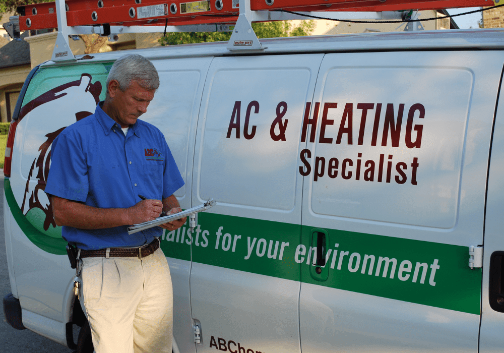 a heating and cooling specialist writing a report for a commercial facility