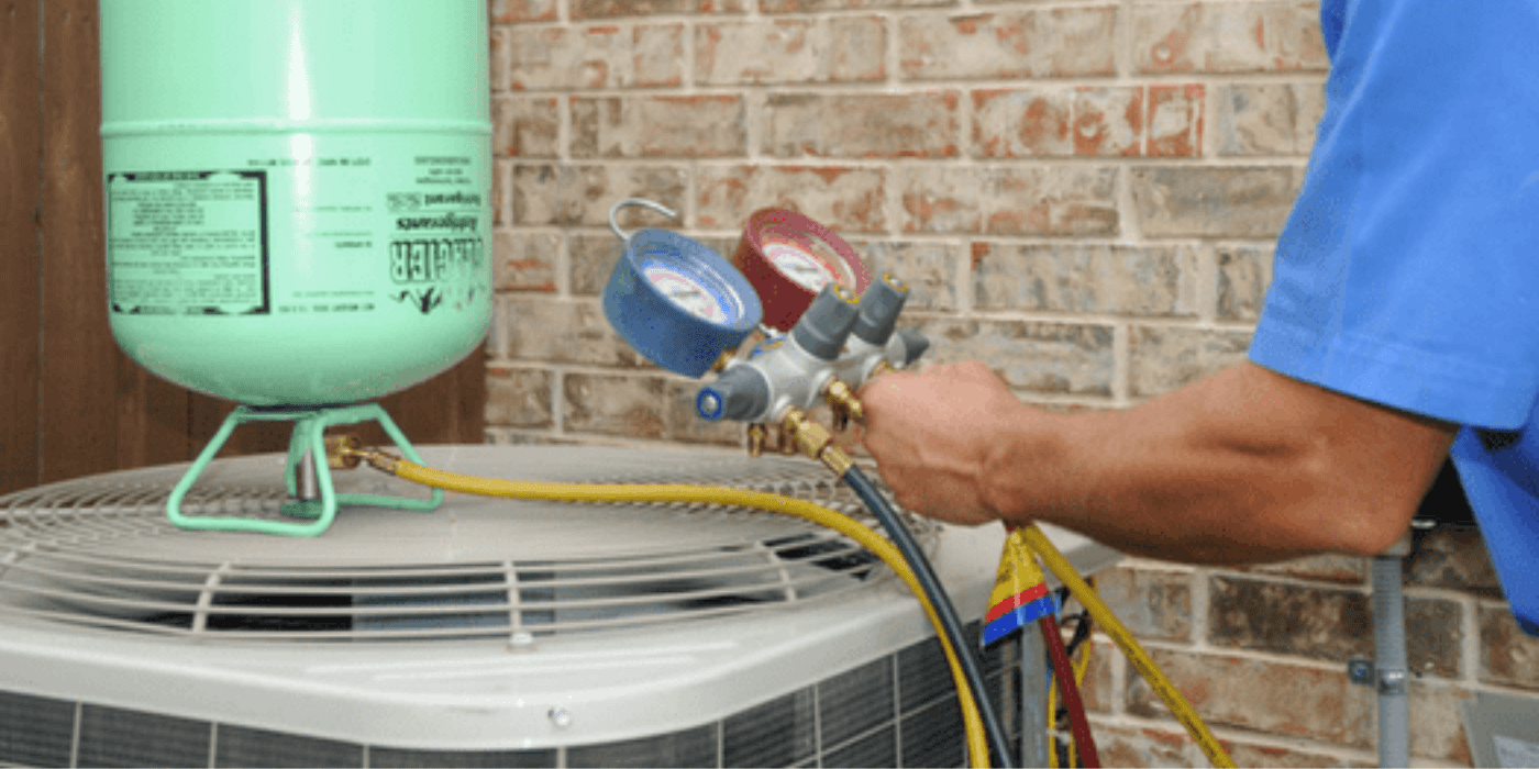 a licensed heating and cooling specialist diagnosing an air conditioning problem