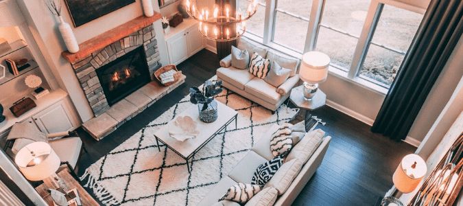 living room in the winter with fireplace