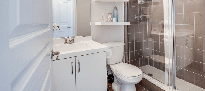 a white and gray bathroom