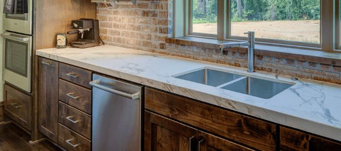 A kitchen sink and dishwasher