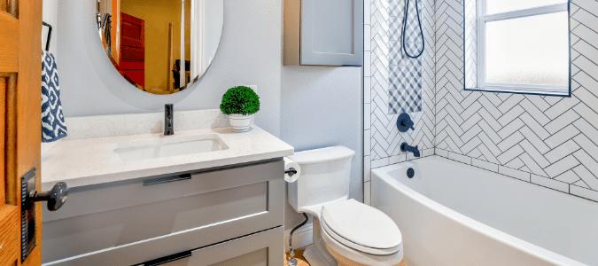 a light blue bathroom
