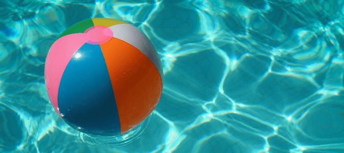 a beach ball in a pool