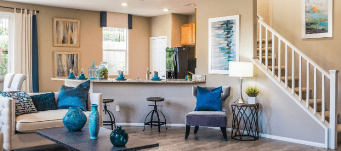 a living room and kitchen