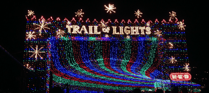 the entrance to trail of lights which is an austin holiday light display option for families