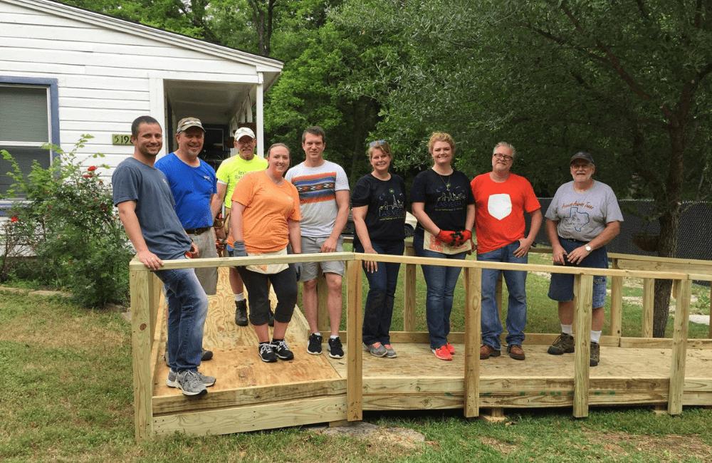 ABC team members building a home