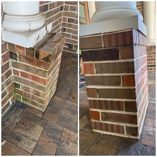 A side-by-side image of two brick pillars. The first is before being power washed by an ABC specialist; it is stained and dirty. The second is after and very clean. All stains have been removed.