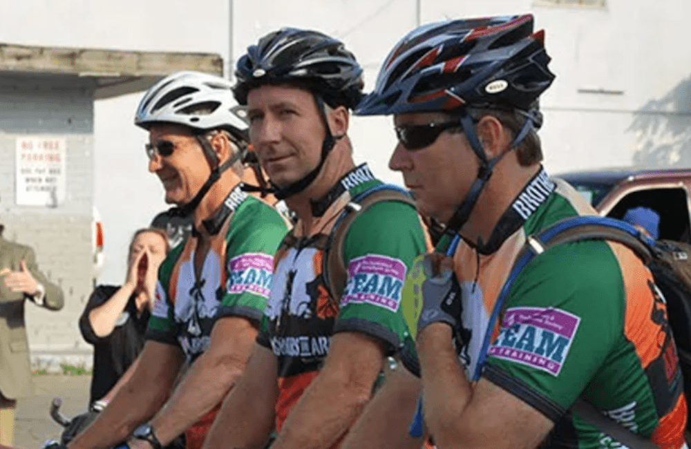 the three Jenkins brother getting ready to bike across the country