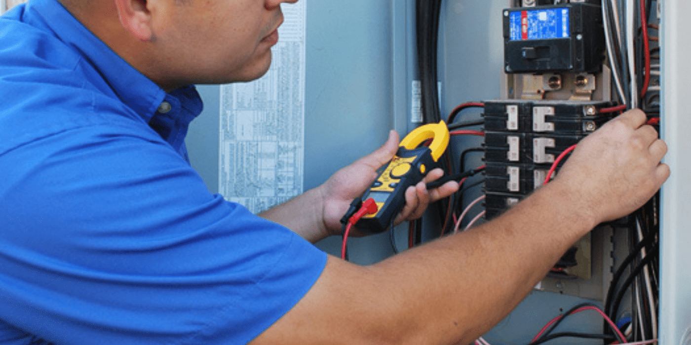 a licensed electrician upgrading a homeowner's electrical panel