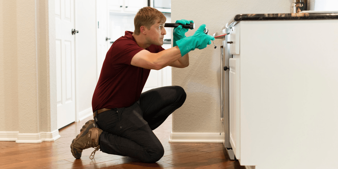 a pest control specialist performing an inspection for a customer