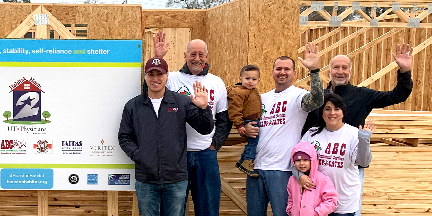 ABC Houston posting at habitat home construction site