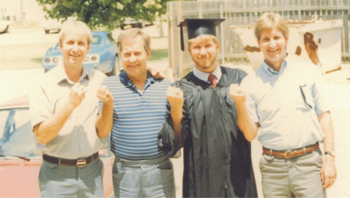 Bob Jenkins Sr. with Bobby, Raleigh and Dennis celebrating Dennis' graduation from Texas A&M